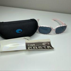 Costa Del Mar Pink Shell Gray Lens Sunglasses Case